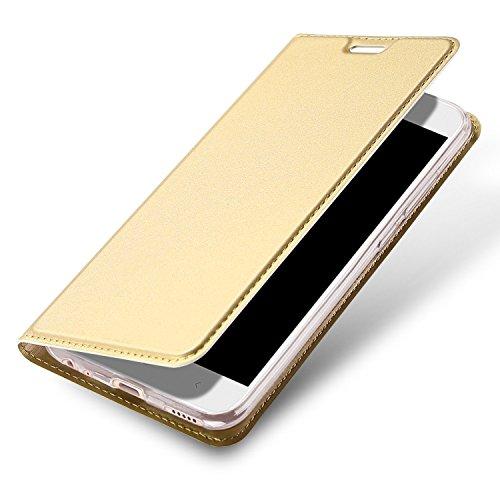 Huawei P9 Lite Mini Funda, OFU® aspecto delgado caso,PU cuero cartera caso de visualización, cierre magnético,TPU parachoques - Huawei P9 Lite Mini cuero flip cartera-Oro rosa dorado