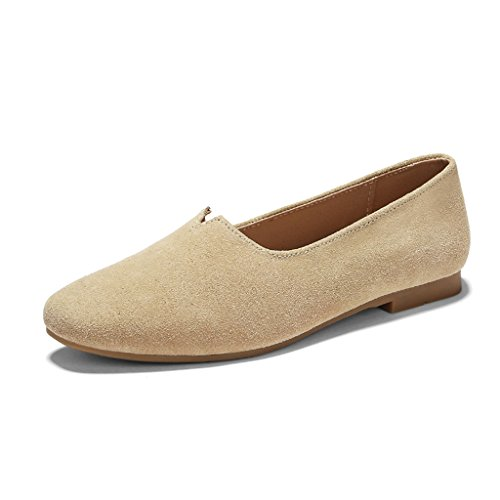 mujer Flat Albaricoque Zapatos de Square Shoes Grandma Shallow Spring para A 39 Beige HWF Mouth Single Zapatos Female mujer Tamaño Pedal Color casuales Head Zapatos 8E1Tq44w