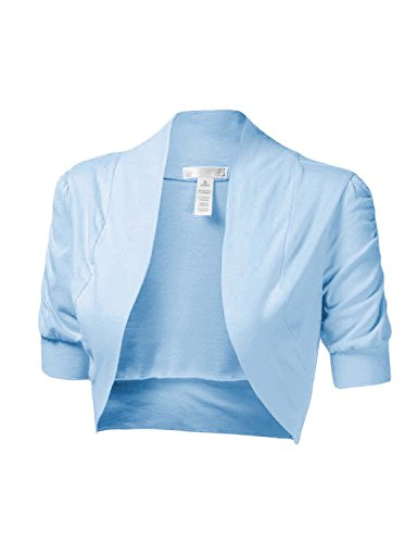 Cropped Sweater Vest (makeitmint Women's Comfy Cropped Short Sleeve Bolero Cardigan Shrug [S-3XL] Small YJCS0002_02Skyblue)