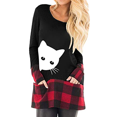 WOCACHI Blouses for Womens, Womens Tops Print Plaid Splice Hem Round Neck Long Sleeve Cute Tunic Blouse Girlfriend Boyfriend Gift Under 5 10 Fashion Newest Couples