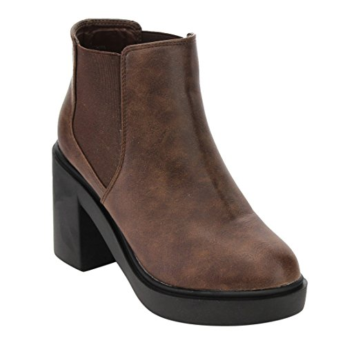 EJ62 Ankle BESTON Half Small Women's High Booties Heel Size Chelsea Top Brown Block pq6dqnwEH