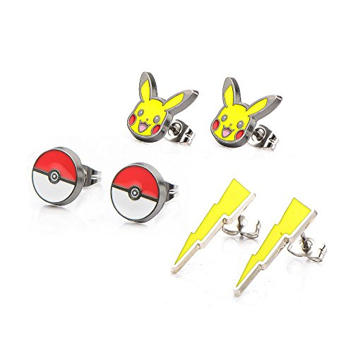 tning Bolt Poke Ball Stainless Steel Stud Earrings Set (Majestic Set Earrings)