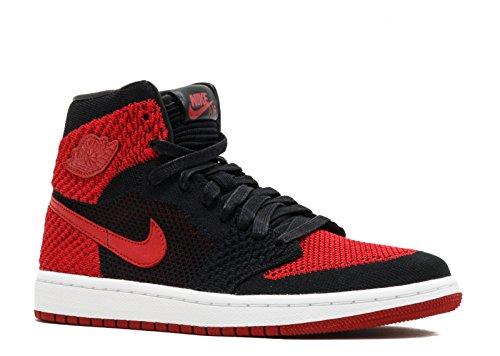 Jordan Air 1 Retro Hi Flyknit BG Kids Black/Red/White 919702-001 (Size: 5.5Y) (White Red Jordan Air 5 And)