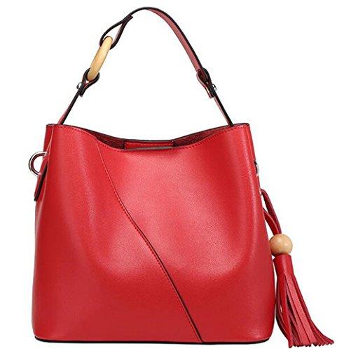 La primavera y el verano de cuero Bolsa Bolsa cuchara HEMBRA hembra silvestre Borla simple bolsa bolso de Rojo