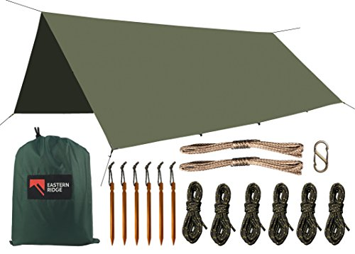 Camping-Tarp-Waterproof-Windproof-Lightweight-Durable-Rainfly-Shelter-For-Hammock-or-Ground-Camping