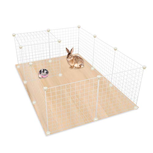 EXPAWLORER Pet Playpen, Puppy Small Animals Pen - Metal Wire Pet Fence Portable Hamster Rabbit Cage with Instructions