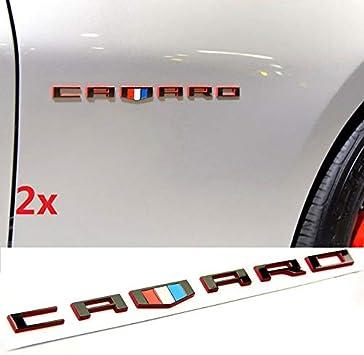 2PCS Red Black CAMARO Letter Emblem 3D for Badge GM Chevy Zl1 SS Red line Series