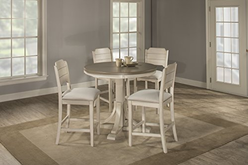 Hillsdale Furniture 4542CTB5S2 Hillsdale Clarion Round Counter Height Open Back Stools, Distressed Gray/Sea White 5 Piece Dining Set