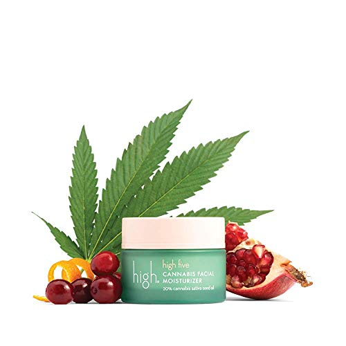high five CANNABIS FACIAL MOISTURIZER - Sativa Seed Face Moisturizer - Organic Hemp Facial Moisturizer with Lactic Acid - Hydrating Facial Moisturizer - Protects Skin & Reduces Inflammation (1.7 oz)