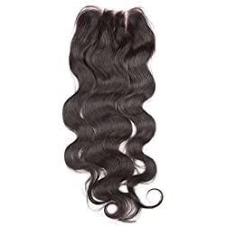 "Fennell 3 Part Closure Body Wave Virgin Brazilian Hair 130% Density Lace Closure Natural Hair Color Soft and Silky(8""-20"") (14 inches)"