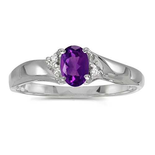 0.34 Carat (ctw) Sterling Silver Oval Purple Amethyst and Diamond Bypass Swirl Engagement Anniversary Fashion Ring (6 x 4 MM) - Size 8.5 ()