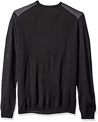 Calvin Klein Men's Merino End on End Blocked Checked Crew Neck Sweater