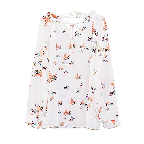 Femmes floral longues Été Manches Blouse Mousseline Blanc Occasionnel shirt Longues Manches Amlaiworld d'attache Blouse T q00OtZ