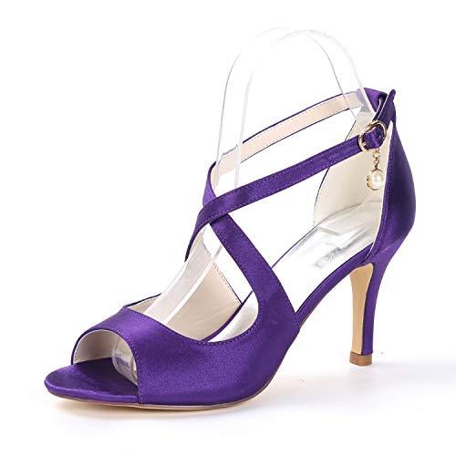 Fiesta Hebilla Mujer Satén L Altos Cm De 8 Bodas Correa Toe Peep Sandalias Purple Suede 5 Corte Tacones yc rpcPRWr