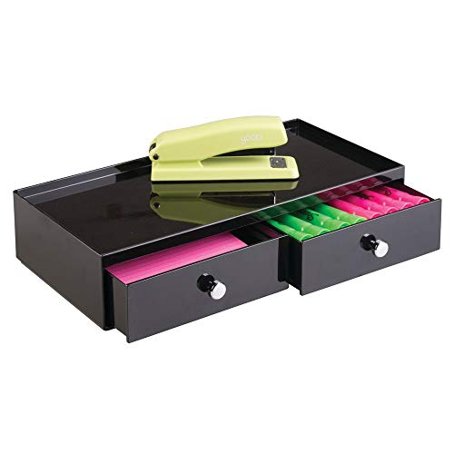 (mDesign Office Supplies Desk Drawer Organizer for Staplers, Pens, Markers, Highlighters, Tape - 2 Drawer, Wide, Black)