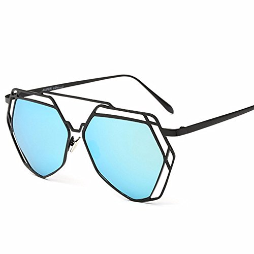 chica El azul gafas de expuesto niñas redonda big de gafas polígono cara sol individuo negro sol XIAOGEGE box Las gafas sol de qzIxRw814