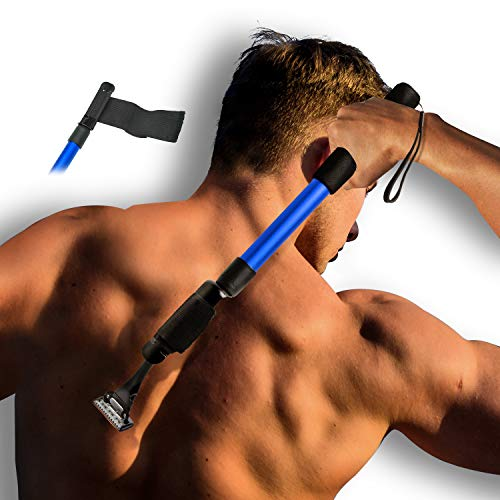 EASACE Razor Extension Shaver Handle with Adjustable Length and Bend Razor, Body Shaver Handle Groomer, Body Brush Handle for Wet or Dry Brushing, Multiple Functions Razor Shaver for Back(Blue)