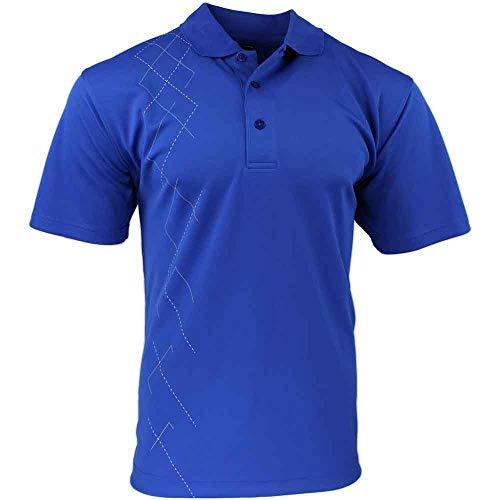 PAGE & TUTTLE Mens Argyle Side Print Golf Athletic Polo Blue L