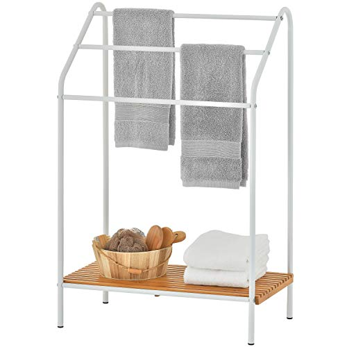 MyGift 3-Tier Metal Freestanding Towel Rack with Bamboo Shelf, White