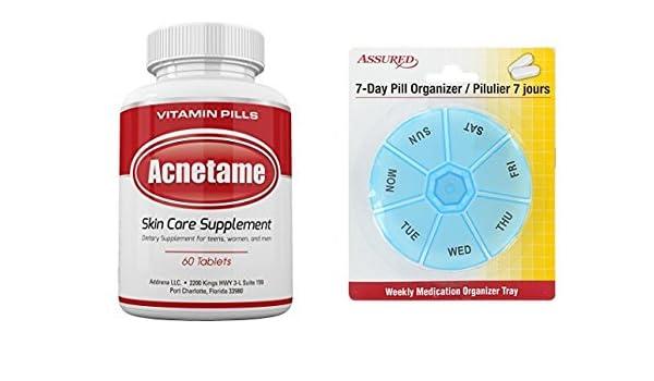 Amazon.com: Acnetame-suplementos de vitaminas para el tratamiento del acné, 60 píldoras naturales con gratis 7 días plástico píldora organizadores: Health ...
