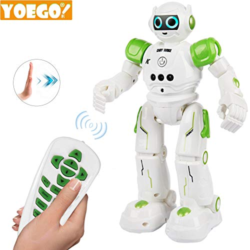 Yoego Remote Control Robot, Gesture Control Robot Toy for Kids, Smart Robot with Learning Music Programmable Walking Dancing Singing, Rechargeable Gesture Sensing Rc Robot Kit (Green) (Best Remote Control Robot For 5 Year Old)