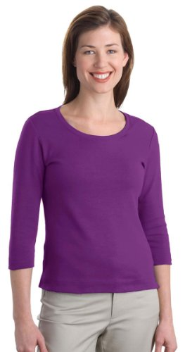 - Port Authority Ladies Modern Stretch Cotton 3/4-Sleeve Scoop Neck Shirt. L517 (Sparkling Grape) (Small)