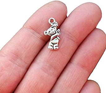 SC039 2 Bear Charms Antique Silver Tone Large Size