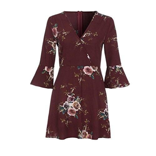 e927439531be ... ZEZKT Floral Gedruckte Elegant Kleider, V Ausschnitt Beachwear  Strandkleid Cocktailkleid Frauen Sexy Clubwear Kleid ärmellos ...