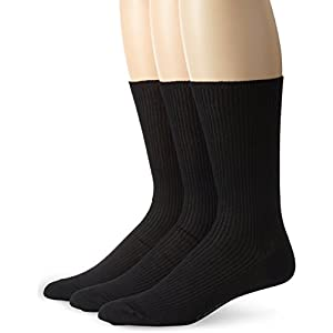 Calvin Klein Men's 3 Pack Non Binding Dress Socks, Black, Sock Size: 10-13/Shoe Size:9-11