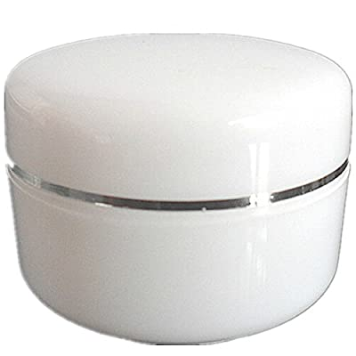 1oz New Empty White Plastic Jar with Silver Line Dome Lid Cosmetic Containers 20 pk Mini Jar