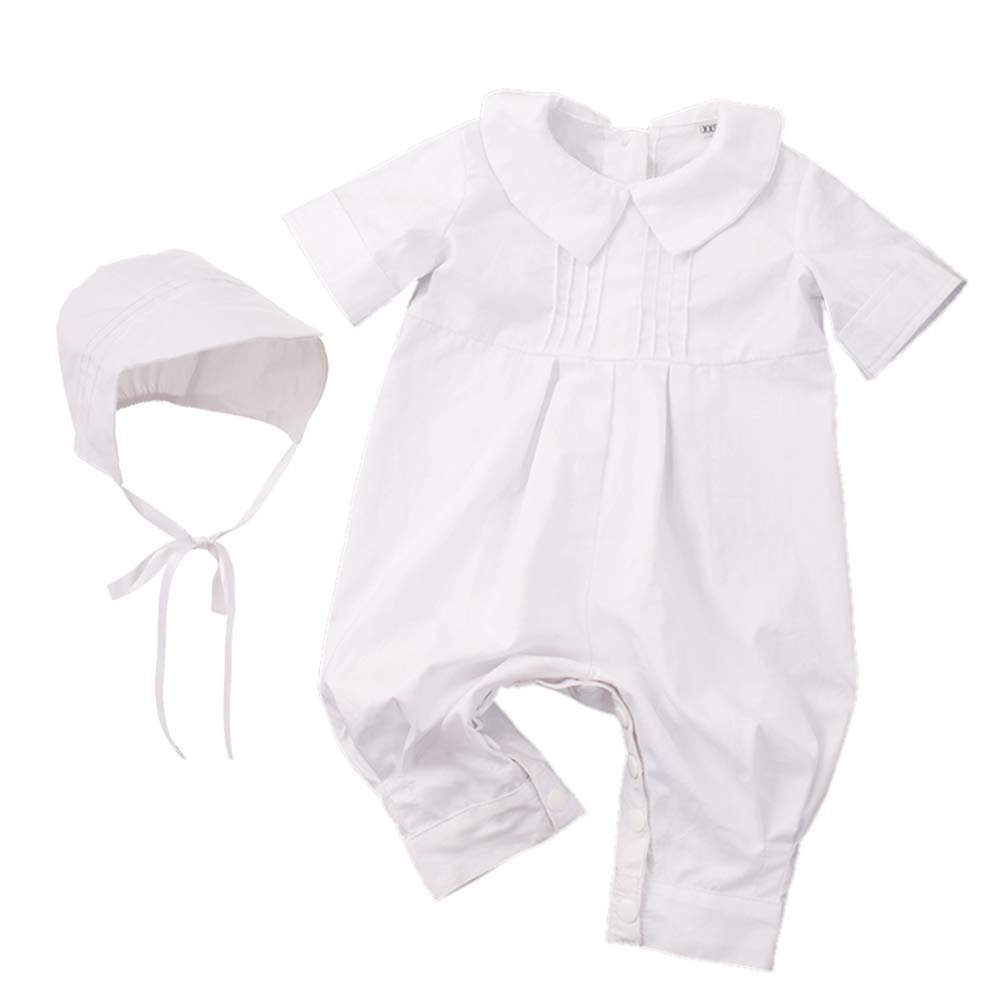 GRACEART Pure Cotton Baby Boys Christening Gowns Baptism Infant Outfit White