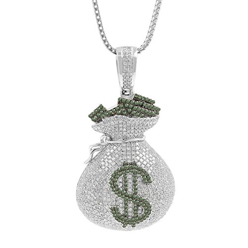 4.19ct Diamond Dollar Sign Money Bag Mens Hip Hop Pendant Necklace in 925 Silver by Isha Luxe-Hip Hop Bling