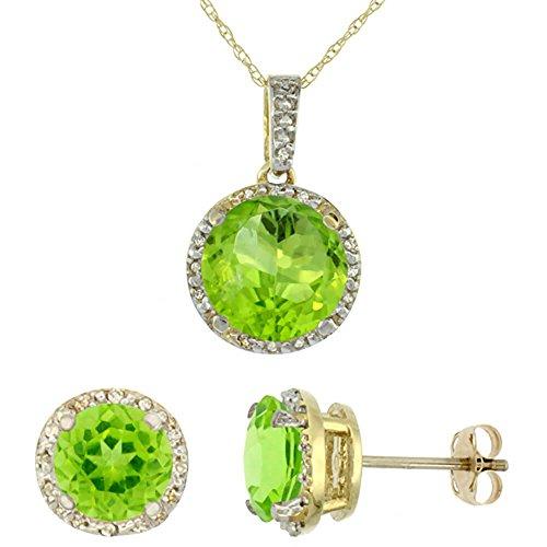 Or jaune 9Ct naturel rond Peridot Boucles d'oreilles et pendentif Set Accents de diamant