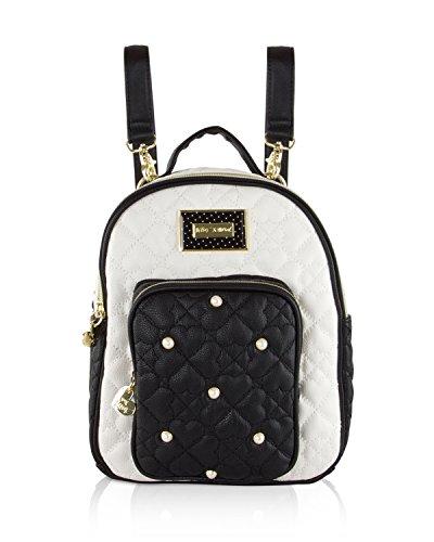 Logo Mini Backpack (Betsey Johnson Mini Convertible Backpack (Cream/Black))