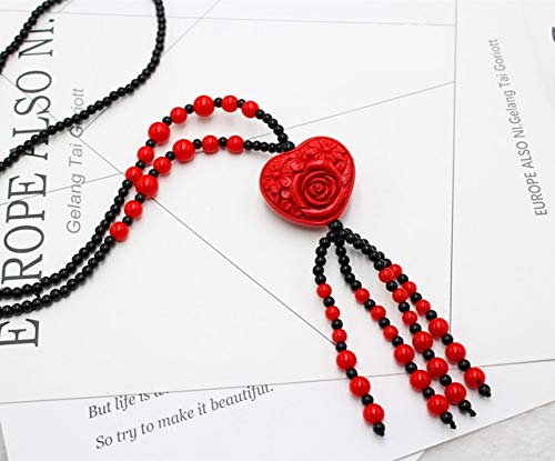 - Red Cinnabar Carved Pendant Necklace Chain Bead Pendants Necklaces Women Jewelry Gift - Heart Flower