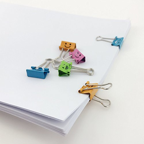 TKOnline Smiling Binder Clips ,19mm ,Assorted Colors ,72 Clips Photo #2