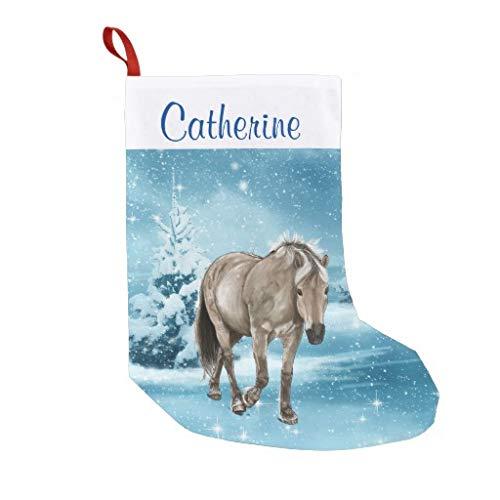 "PrettyGift Personalized 10.4"" x 16.8"" Christmas Stocking, Xmas Stocking, Horse in Winter Scene Custom Stocking, Xmas Tree Holiday Decorations"