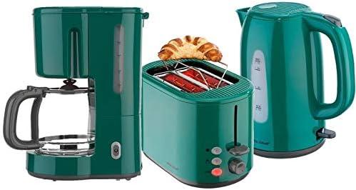 Juego de 3 piezas para desayuno, cafetera de filtro, hervidor de agua, tostadora, color verde: Amazon.es: Hogar