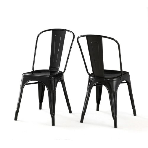 ModHaus Living Set of 2 Black Xavier Pauchard Tolix A Style Chairs in Powder Coat Finish Steel Includes (TM) Pen