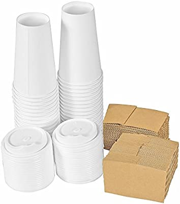 f3dfce9dc02 Premium Quality 16 Oz. Disposable White Hot Paper Coffee Cups By PrepStor –  50 Pack Set Complete With Travel Protective Sleeves & Lids – Perfect ...