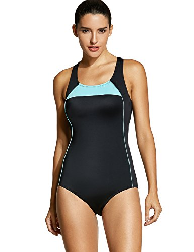 Racing Swimsuit Womens (SYROKAN Women's Athletic One Piece Swimwear Racing Plus Size Sports Swimsuit Black 40 inch)