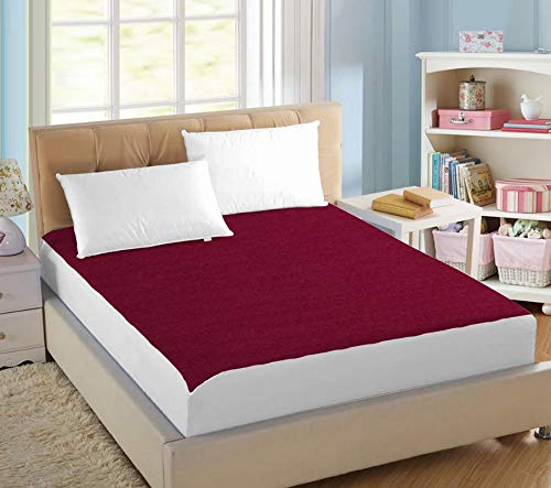 AVI Cotton Waterproof Spill Bug and Dust-Proof King Bed Fitted Mattress Protector, 72x78-inch(Maroon)