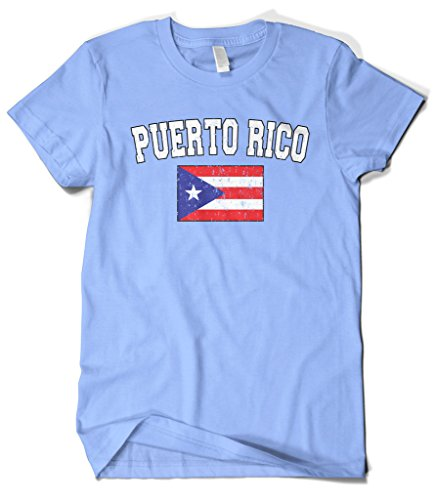 fan products of Cybertela Men's Faded Distressed Puerto Rico Flag T-Shirt (Light Blue, 3X-Large)