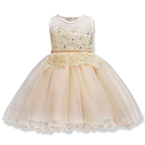 Girl's Lace Princess Party Formal Dresses Elegant Pageant Wedding Bridesmaid Prom High-Low Gowns (Champagne - Lace,7-8 Years)