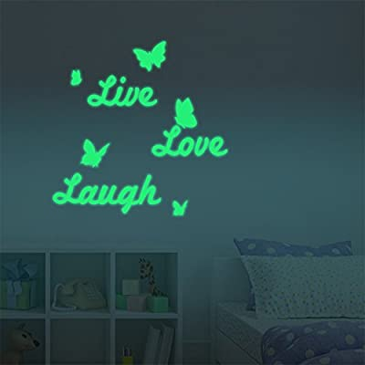 """AmazingWall 60x60CM/23.6x23.6"""" Letters DIY Glow in the Dark Live Love Laugh Luminous Light Fluorescence Switch Wall Stair Sticker Living Room Kids' Room Nursery Decor Home Decorations 1PCS/SET"""