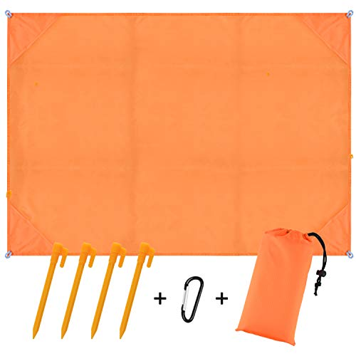BROTOU Compact Beach Pocket Blanket for Outdoor Camping,Hiking,Travel,Festival, Sports Sand Proof Picnic Mat Quick Dry Ground Cover Tarp(Size 79x55) (Blue) (Orange)