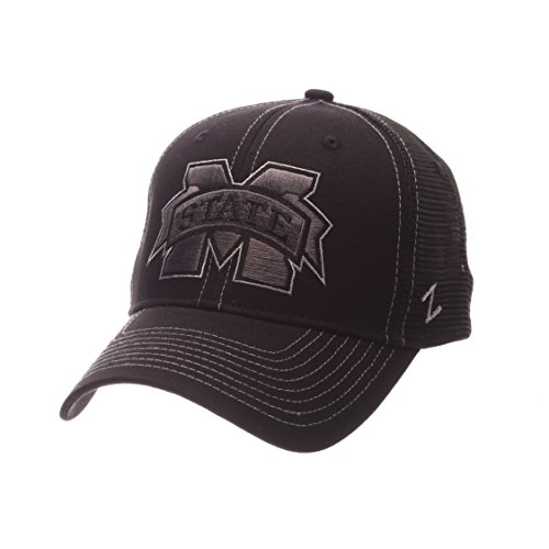 Mississippi State Cap - NCAA Mississippi State Bulldogs Adult Men's Staple Trucker Blackout Cap, Adjustable Size, Black