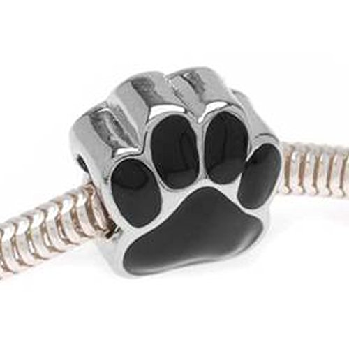 European Black Dog Enamel Paw Charm Spacer Bead for Snake Chain Charm Bracelet - Enamel Bead Chain