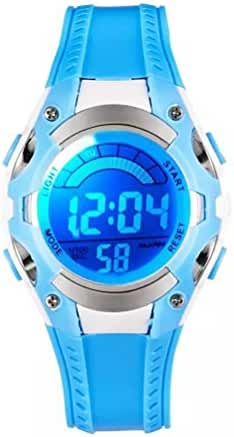 LED Waterproof Sports Digital Watch for Children Girls Boys (Blue)