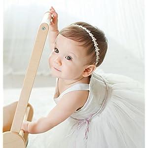 TRENDINAO New Baby Toddlers Girls Princess Dress Lace Flowers Diamond Pearl Headbands Elastic Hairbands